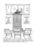 """Sign under drawing reads: Long after losing the election, Fred Gort contin…"""" - New Yorker Cartoon Premium Giclee Print by Jack Ziegler"""