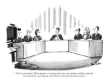 """This is our format: Three minutes to present your case, two minutes each …"" - New Yorker Cartoon Premium Giclee Print by Dana Fradon"
