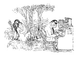 A couple makes love in the woods, while a man writes at his desk nearby. - New Yorker Cartoon Premium Giclee Print by William Steig