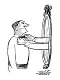 Man smiling into mirror as arms and hands reach out and straighten his bow… - New Yorker Cartoon Premium Giclee Print by Mischa Richter