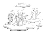 Angels in heaven look at another pair of angels who are holding tennis rac… - New Yorker Cartoon Premium Giclee Print by Ed Fisher