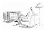 "Man watching television showing ""Campaign Rhetoric: A roundup of what is b…"" - New Yorker Cartoon Premium Giclee Print by Everett Opie"