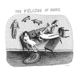 A family is sitting in their living room; they are arranged in awkward pos… - New Yorker Cartoon Premium Giclee Print by Roz Chast