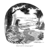 """Adam! Look! It's coming up again!"" - New Yorker Cartoon Premium Giclee Print by Rowland Wilson"