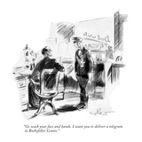 """""""Go wash your face and hands. I want you to deliver a telegram to Rockefel…"""" - New Yorker Cartoon Premium Giclee Print by Kemp Starrett"""