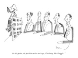 """At this point, the product smiles and says, 'Good day, Mr. Froggie.' "" - New Yorker Cartoon Premium Giclee Print by Arnie Levin"