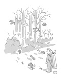 Caddy watches birds and animals scampering out of forest as golfer swings … - New Yorker Cartoon Premium Giclee Print by Chon Day
