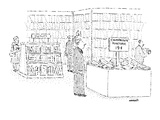 A man in a bookstore is looking at a discount bin full of pamphlets; the s… - New Yorker Cartoon Premium Giclee Print by Robert Mankoff