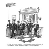 """The Duke and Duchess of A.T. & T., the Count and Countess of Citicorp, th…"" - New Yorker Cartoon Premium Giclee Print by Dana Fradon"