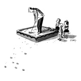 Angry children watch as golfer hits balls out of their sandbox. - New Yorker Cartoon Premium Giclee Print by Barney Tobey