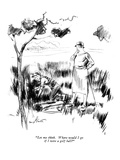"""Let me think. Where would I go if I were a golf ball?"" - New Yorker Cartoon Premium Giclee Print by Kemp Starrett"