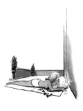 Sexy young girl sunbathing on an apartment terrace sees jeweled necklace h… - New Yorker Cartoon Premium Giclee Print by Eldon Dedini