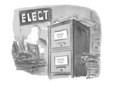 """Filing cabinet in election campaign office. The cabinet contains two drawe…"""" - New Yorker Cartoon Premium Giclee Print by James Stevenson"""