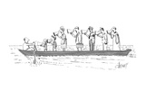 all standing in a line in the boat with him - New Yorker Cartoon Premium Giclee Print by Tom Cheney
