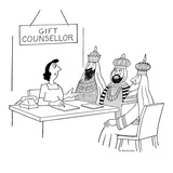 GIFT COUNSELLOR is counseling the three wise men. - New Yorker Cartoon Premium Giclee Print by Otto Soglow