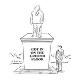 Man looking at statue of man on pedestal with inscription that reads; 'Got… - Cartoon Premium Giclee Print by Aaron Bacall
