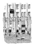 Thousands of words cascade out of N.Y. Times building. - New Yorker Cartoon Premium Giclee Print by Robert J. Day