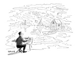 Artist about to paint an outdoor scene sees numbers on everything, like a … - New Yorker Cartoon Premium Giclee Print by Frank Modell