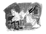 Bride of Frankenstein talking to husband reading newspaper. - Cartoon Premium Giclee Print by Edward Frascino
