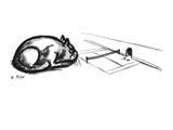 A cat sits by a tiny tennis court next to a mouse hole, waiting for the mi… - New Yorker Cartoon Premium Giclee Print by Warren Miller