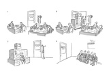 Men at work in Unemployment Compensation Office. An electronic brain is mo… - New Yorker Cartoon Premium Giclee Print by David Langdon
