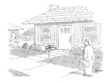 Man approaches house with mail box that reads, 'The Larson Family and Micr… - Cartoon Premium Giclee Print by Jack Ziegler