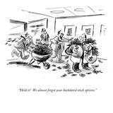 """Hold it!  We almost forgot your backdated stock options."" - New Yorker Cartoon Premium Giclee Print by Lee Lorenz"
