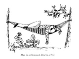 Man in a Hammock, Bird in a Tree - New Yorker Cartoon Premium Giclee Print by William Steig