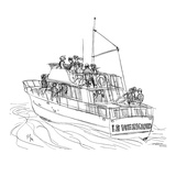 A yacht full of relaxed adults is sailing off: on the stern are written th… - New Yorker Cartoon Premium Giclee Print by Everett Opie