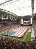 49ers Cardinals Football: Glendale, AZ - American Flag lines the Field at University of Phoenix Sta Photographic Print by Jason Babyak