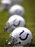 Colts Football: Franklin, IN - Colts Helmets Photographic Print by Michael Conroy
