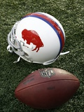 Bills Patriots Football: Foxborough, MA - A Buffalo Bills Throwback Helmet Photographic Print by Winslow Townson
