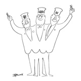 Three-headed train conductor waves ticket punchers. On each head is a diff… - New Yorker Cartoon Premium Giclee Print by Frank Modell