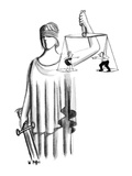 Scales of Justice hold a man and a woman fighting with each other. - New Yorker Cartoon Premium Giclee Print by Warren Miller