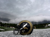 Rams Camp Football: Mequon, WISCONSIN - A St. Louis Rams Helmet Photographic Print by Jeff Roberson