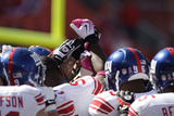Giants Chiefs Football: Kansas City, MO - New York Giants huddle Prints by Jeff Roberson