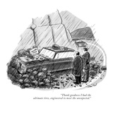 """Thank goodness I had the ultimate tires, engineered to meet the unexpecte…"" - New Yorker Cartoon Premium Giclee Print by Stan Hunt"