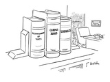 In lawyer's office, three books on shelf are titled: Restatement of Torts,… - New Yorker Cartoon Premium Giclee Print by Dana Fradon
