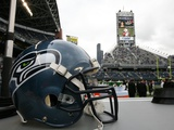 Cardinals Seahawks Football: Seattle, WA - Seattle Seahawks Helmet Photographic Print by Marcus R. Donner