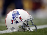 Patriots Broncos Football: Denver, CO - New England Patriots helmet Photographic Print by Jack Dempsey