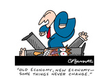 """""""Old economy, new economy— some things never change."""" - Cartoon Premium Giclee Print by Charles Barsotti"""