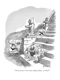 """""""Well, tell me.  Is this Aztec, Mayan, Olmec, or Toltec?"""" - New Yorker Cartoon Premium Giclee Print by Barney Tobey"""