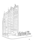 Large impressive facades stand in front of smaller homes. - New Yorker Cartoon Premium Giclee Print by Saul Steinberg