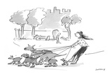 Woman walking dogs in park. Dogs, wearing roller blades, pull woman, also … - Cartoon Premium Giclee Print by Liza Donnelly