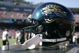 Jaguars 49ers Football: San Francisco, CA - A Jacksonville Jaguars Helmet Photographic Print by Tony Avelar