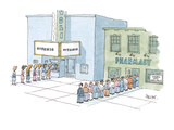On city street, two lines form:  a line of woman going to see the movie 'T… - Cartoon Premium Giclee Print by Jack Ziegler