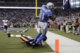 Bears Lions Football: Detroit, MI - Calvin Johnson Photographic Print by Paul Sancya