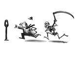 Skeleton with weapon running after man who is hurrying to put a coin in a … - New Yorker Cartoon Premium Giclee Print by Lee Lorenz
