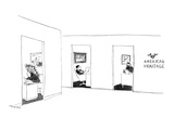 Shows three offices of American Heritage magazine. One editor is dressed a… - New Yorker Cartoon Premium Giclee Print by James Stevenson
