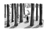 Golfer looks in maple buckets for lost ball. - New Yorker Cartoon Premium Giclee Print by Robert J. Day